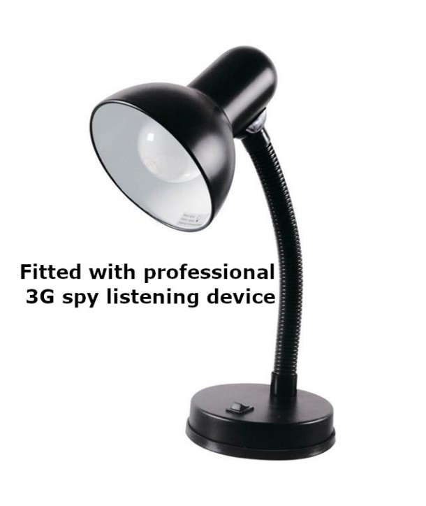Professional 3G GSM spy bug inside a flexi arm desk lamp